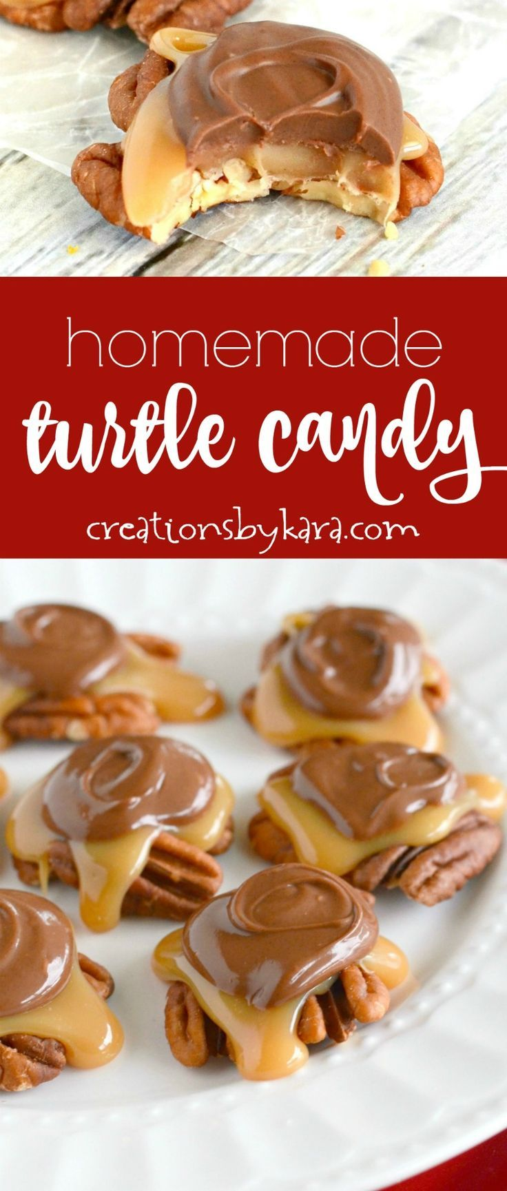 Recipe for the best caramel pecan turtle candy ever! So easy and so yummy! Everyone loves these chocolate covered caramel pecan clusters! via creationsbykara.com