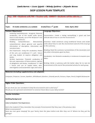 13 best SIOP images on Pinterest Siop strategies, English - siop lesson plan templat