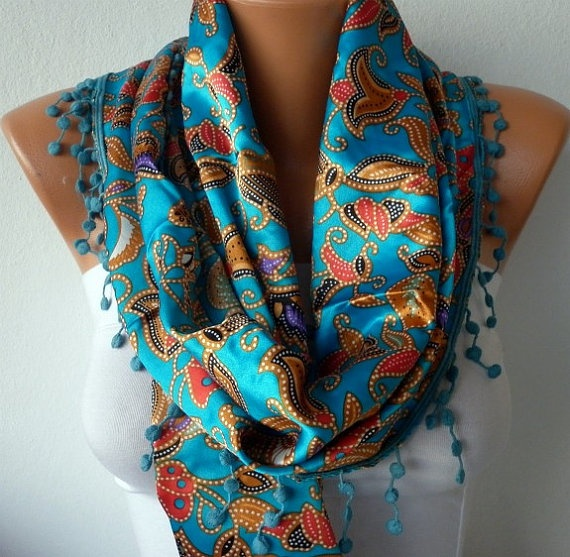WOMEN SCARF  HEADBAND NECKLACE COWL WITH LACE  BY FATWOMAN ON ETSY, $17.00