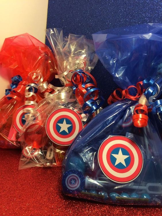 8 Captain America Avenger Shield Birthday Party Favor Goody Bag Comic Super Hero: