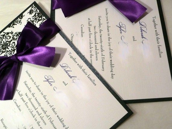 Dark Purple Damask Wedding Invitation Set  by PinkOrchidInvites