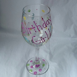 DIY Painted Wine Glass!  Glossy, acrylic paint pens, a second hand wine glass, rhinestones, & rubber cement.  Fun, easy, & a great gift!  Go me!  :): Gifts Ideas, Wine Glass, Gifts 2012, Great Gifts