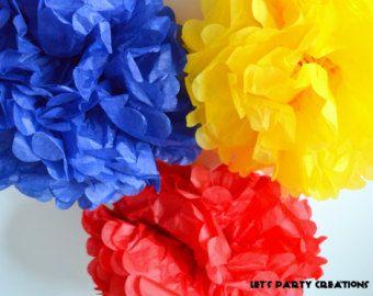 6 Tissure Paper Pom Poms, Primary Color Birthday Party, Snow White Birthday Party, Super Hero Party, Boy Baby Shower