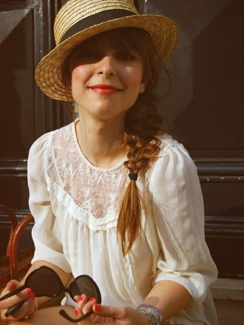 darling hat and lace blouse.: Straw Hats, Fashion, Style, Lace Blouse, Outfit, Shirt