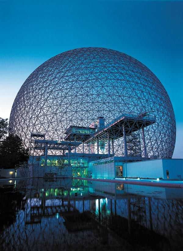 Biosphere, Montreal, Canada - the world's largest geodesic dome. It was created for the World Fair Expo '67 in the former pavilion of the United States. The Biosphere is the only museum in North America that is dedicated to water.