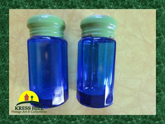 Vintage Cobalt Blue Glass Salt and Pepper Set by KressHillVintage