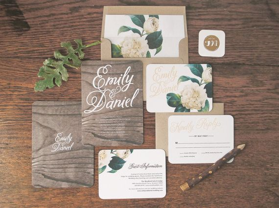 Woodland Floral Wedding Invitation U0026 Correspondence Set / Rustic Wood With  Romantic Accents / Sample Set
