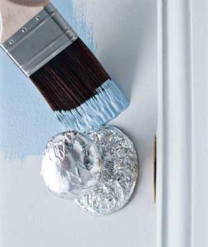 Aluminum Foil around the door knob for painting