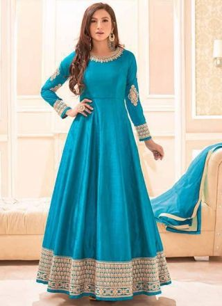 Gauhar Khan Sky Blue Embroidery Work Silk Designer Long Anarkali Bollywood Suit http://www.angelnx.com/Salwar-Kameez/Anarkali-Suits