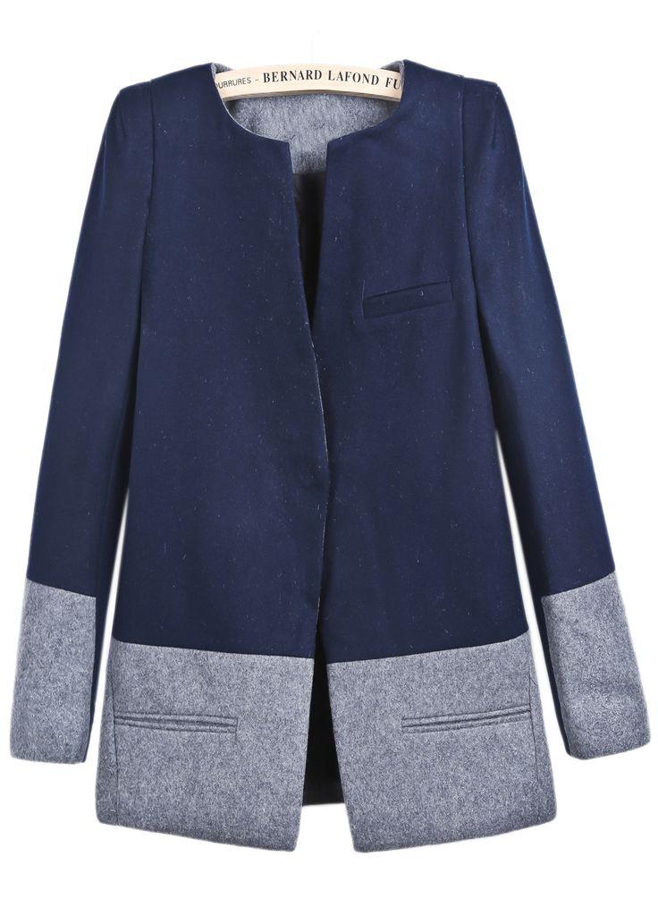 Navy Long Sleeve Contrast Grey Pockets Coat - Sheinside.com