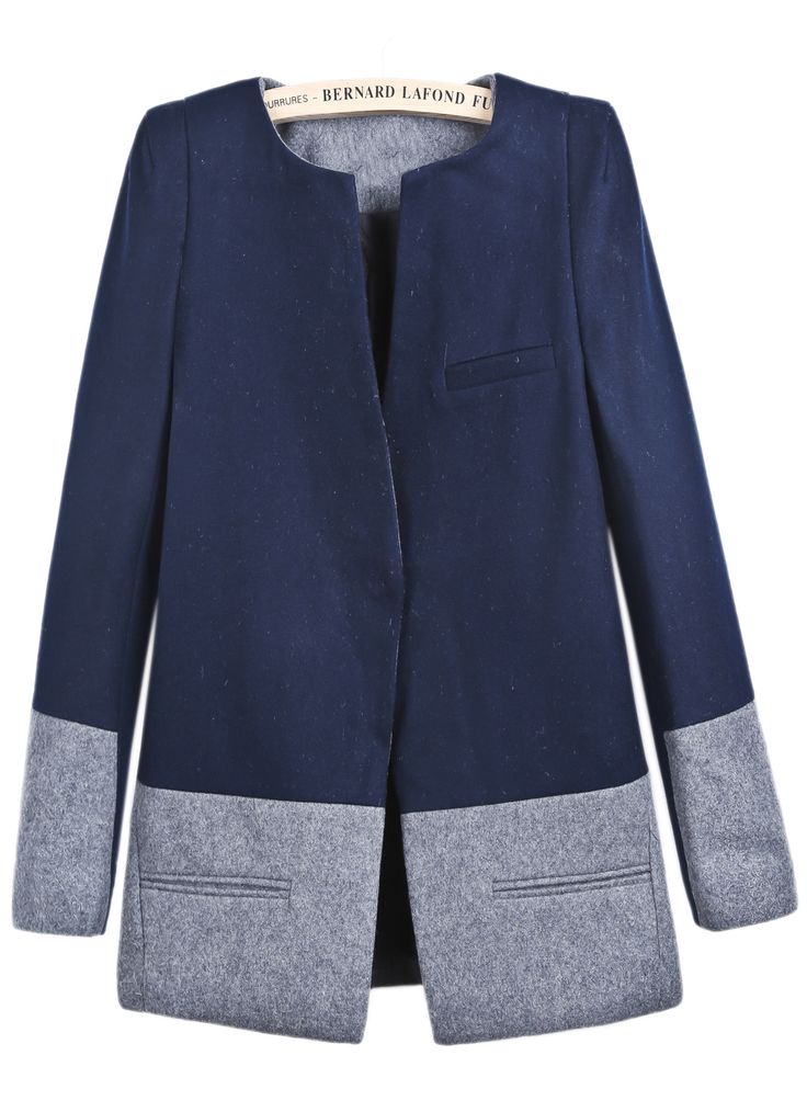 Navy Long Sleeve Contrast Grey Pockets Coat - Sheinside.com