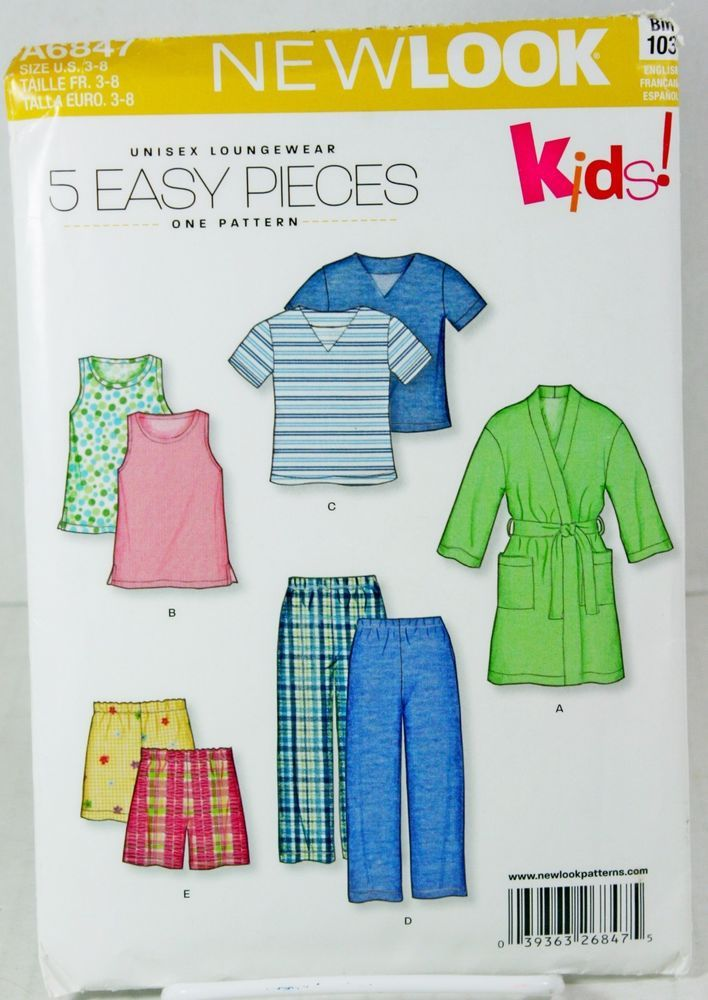 0ddd2c1c63 New Look A6847 Sewing Pattern Kids Unisex Lounge Wear Pajamas Shorts Robe  Sz 3-8  NewLook  Pajamas