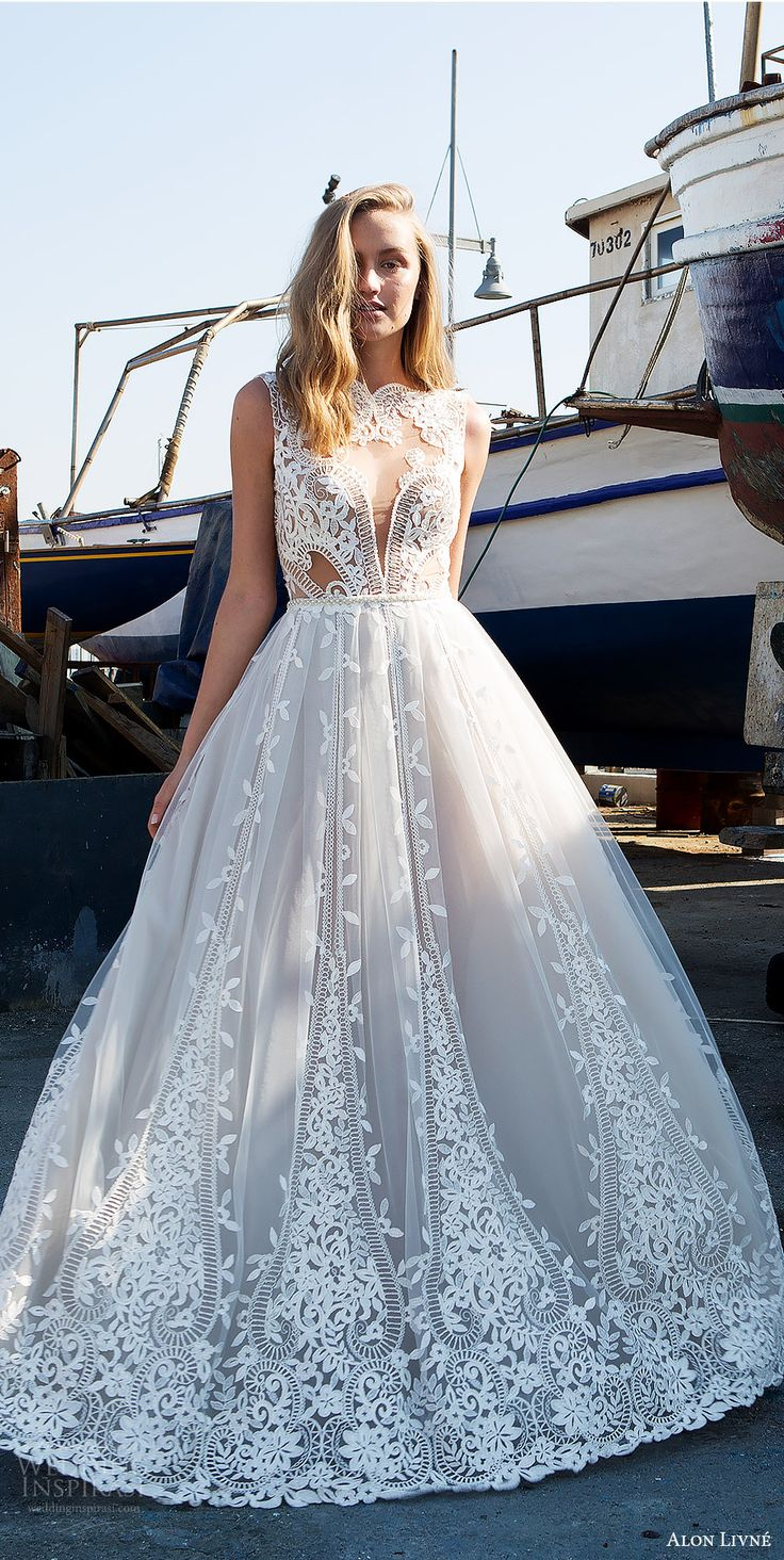 alon livne white pre 2018 bridal sleeveless jewel neck sheer bodice lace ball gown wedding dress (beatrice) mv princess romantic -- Alon Livne White 2017-2018 Wedding Dresses