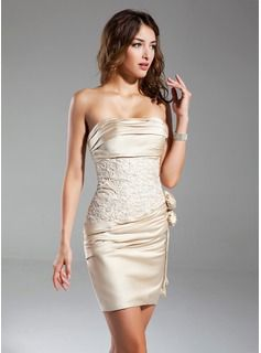 Special Occasion Dresses - $144.99 - Sheath Strapless Short/Mini Satin Cocktail Dress With Ruffle Lace Flower(s)  http://www.dressfirst.com/Sheath-Strapless-Short-Mini-Satin-Cocktail-Dress-With-Ruffle-Lace-Flower-S-016015329-g15329