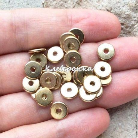 Купить Латунные бусины 8 мм рондель шайба для украшений - фурнитура для украшений, фурнитура для бижутерии
