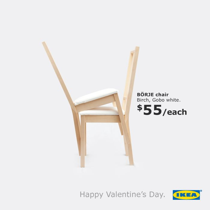 Happy Valentine's Day from IKEA | http://www.gutewerbung.net/ikea-happy-valentines-day-chairs/ #Advertising #Chairs #Valentinesday