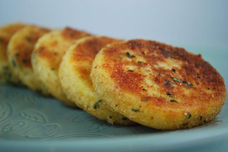 crispy polenta cakes. Tried and true! Use panko breadcrumbs.