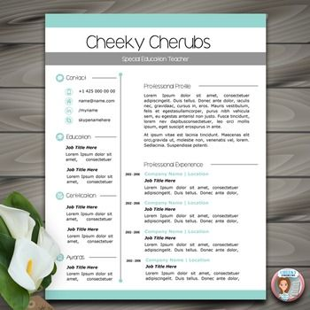 Resume Template | Teacher CV Template + Cover and Referenc