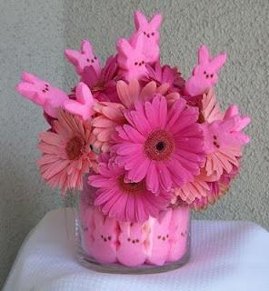 Easter Peeps Centerpiece: Pink Flowers, Gerber Daisies, Easter Centerpieces, Easter Bunnies, Easter Spr, Easter Decor, Floral Arrangement, Center Pieces, Easter Ideas