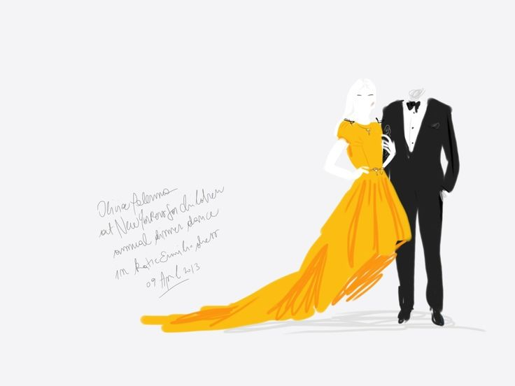 Olivia Palermo in Katie Ermilio yellow crinoline dress at New Yorkers For Children annual Spring dinner dance.   #portrait Open Toe, fashion illustrated - Opentoeillustration.com
