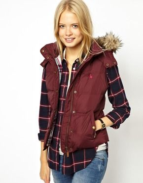 Image 1 of Jack Wills Gilet With Faux Fur Trimmed Hood