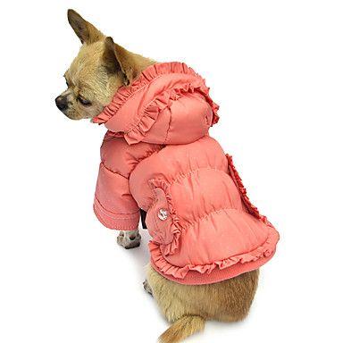 elegant draperet vinter varm frakke med hættetrøjer til kæledyr hunde (assorterede størrelser) 2015 – €102.00