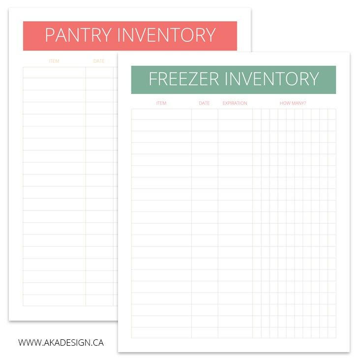 Pantry and Freezer Inventory Printables                                                                                                                                                                                 More