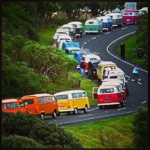 Kombi Convoy in every color! #VW #Parade