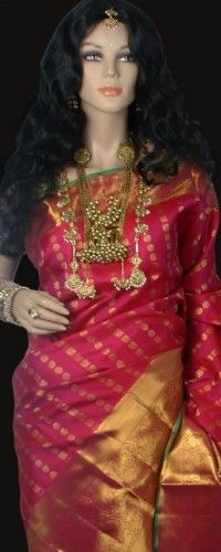Magenta Pink Kanjeevaram Saree with Zari Buttas