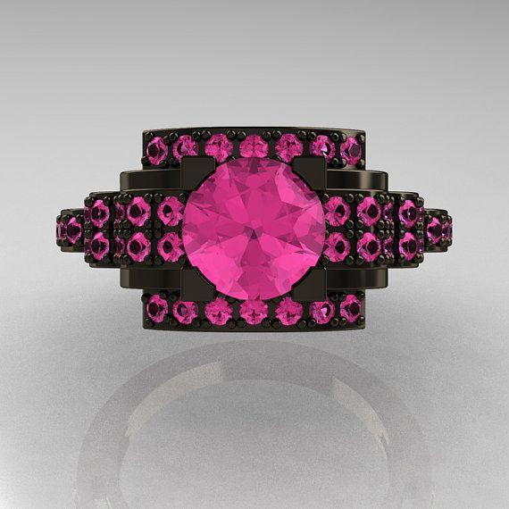 Modern Edwardian 14K Black Gold 10 Carat Pink by artmasters, $2459.00