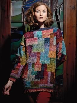 Katja - Knit this womens intarsia sweater from Rowan Knitting & Crochet Magazine 56, a design by Kaffe Fassett using the beautiful yarn Rowan Fine Tweed (100% wool). With a wide neck and drop shoulder, the yarn is used double throughout, this knitting pattern is for the intermediate knitter.