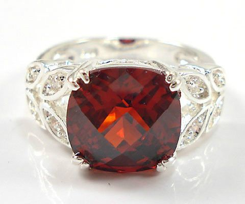 3.5ct Garnet with white topaz accents Silver cocktail Ring Size 9