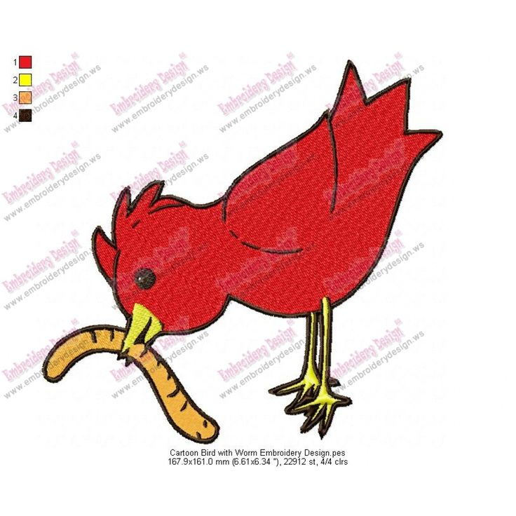 Cartoon Bird with Worm Embroidery Design