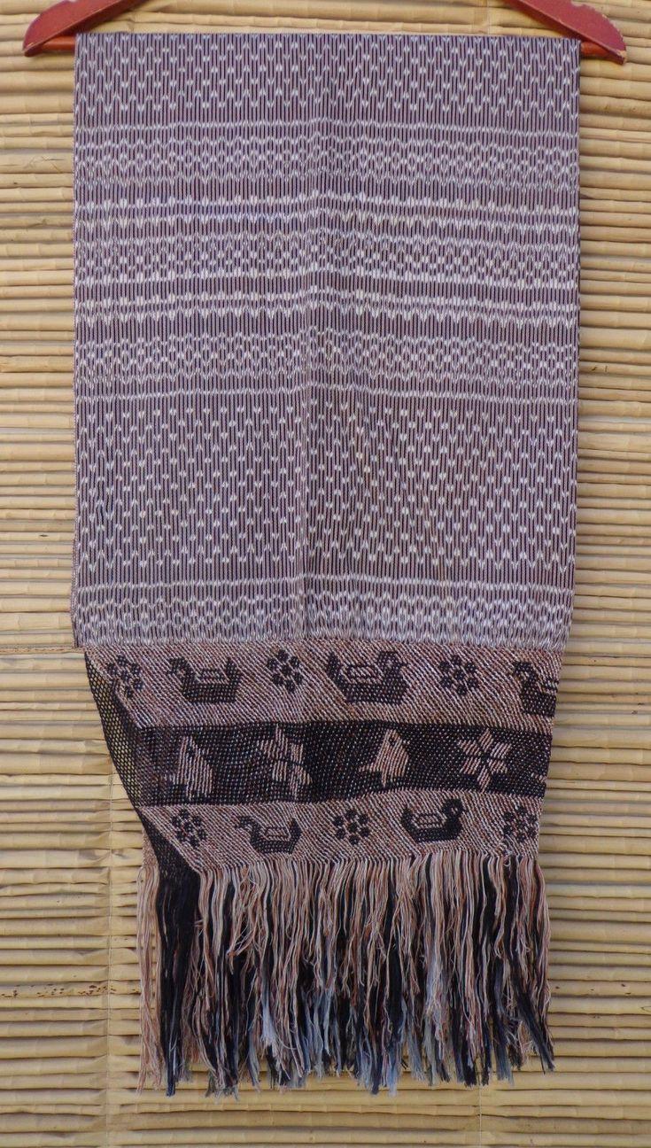 Mexican Handwoven Brown Rebozo Sarape Shawl Wrap Pareo Scarf Runner From Tenancingo