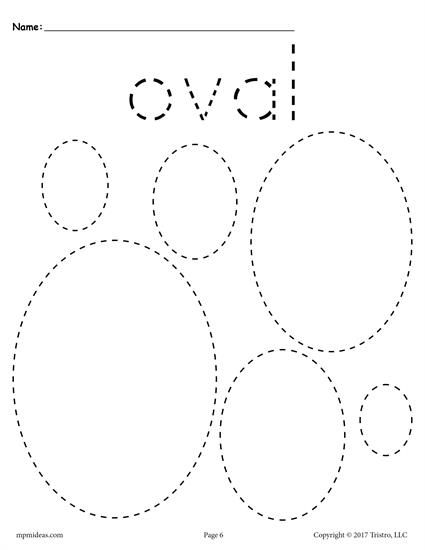 FREE preschool tracing shapes worksheets. Includes an oval tracing worksheet plus 11 other shapes tracing worksheets. Great for toddlers too! Get them all here --> http://www.mpmschoolsupplies.com/ideas/7545/12-free-shapes-tracing-worksheets/