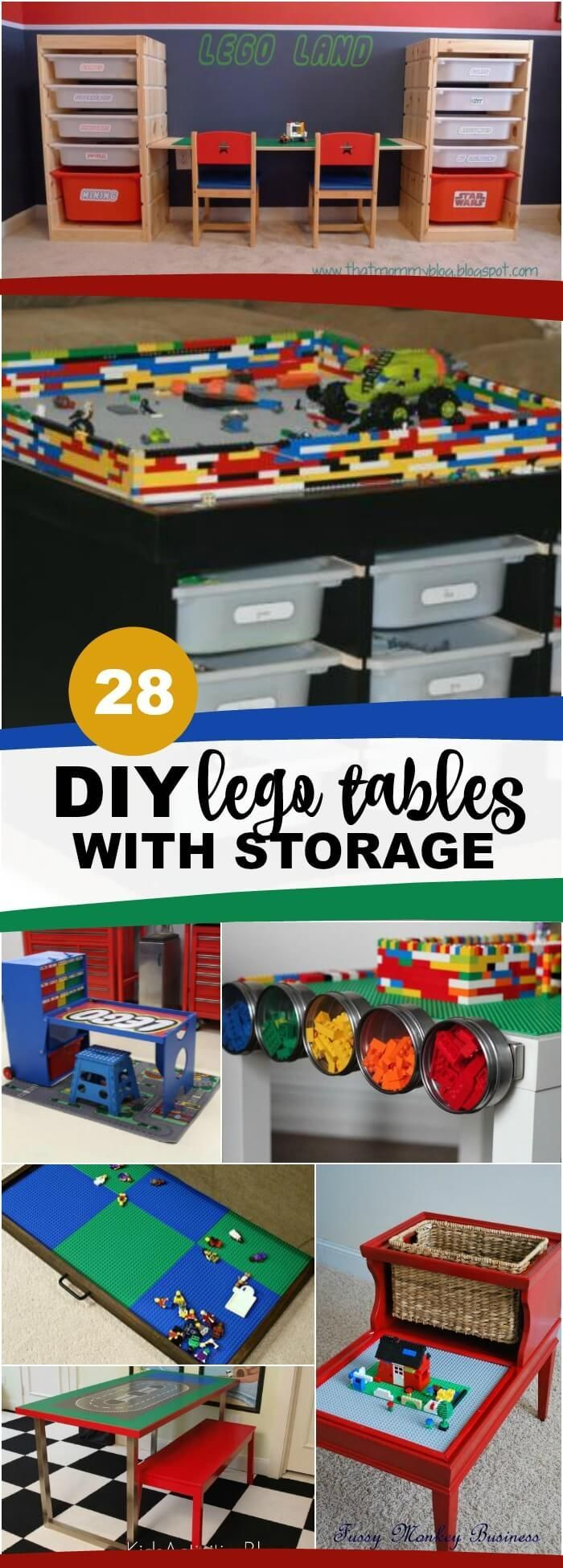 DIY Lego Tables with Storage - lots of ikea hacks, tables made from scratch, plans, trays that fit under the bed and more. via @spaceshipslb