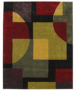 Handmade Rodeo Drive Black/ Multi N. Z. Wool Rug (7'6 x 9'6)