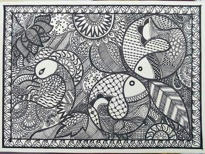 Madhubani Black And White Paintings