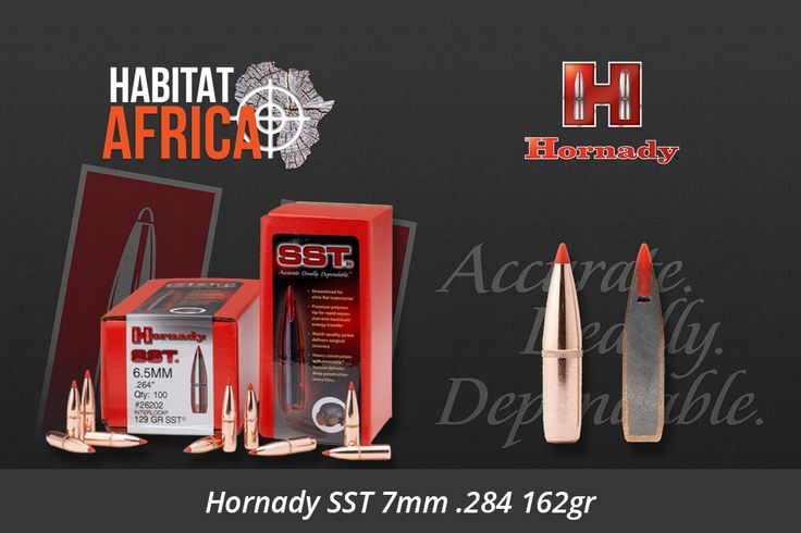 """Short for """"Super Shock Tip"""" the Hornady SST 7mm .284 162gr is designed to deliver tremendous shock on impact while expanding quickly and reliably, particularly at higher velocities. Flat shooting and deadly accurate, it's an ideal bullet for whitetails, as well as most North American game animals from antelope to [...]"""