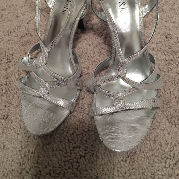 silvers heels worn once to be in my sisters wedding! great for weddings or prom! super comfy Kelly & Katie Shoes Heels