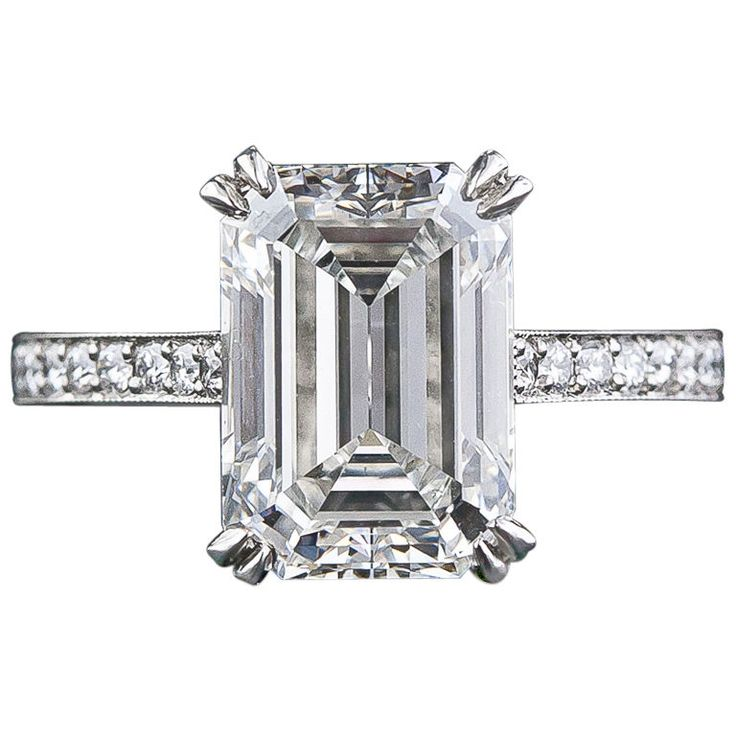 4 00 Carat Emerald Cut Diamond Engagement Ring