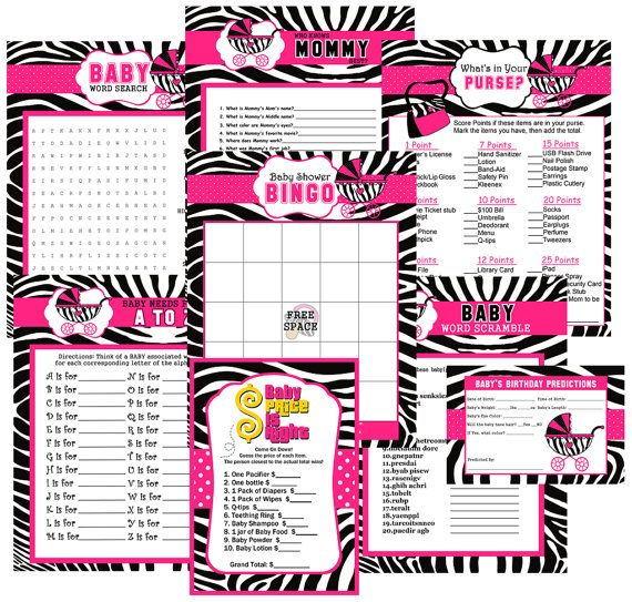 Zebra Print Baby Shower Party Games Games by ADTRCustomDesigns, $10.00