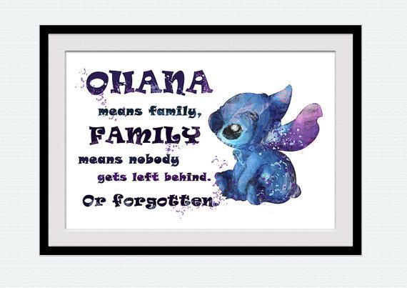 Grey Lilo and stitch Wall Art Ohana means family quote Handmade plaque