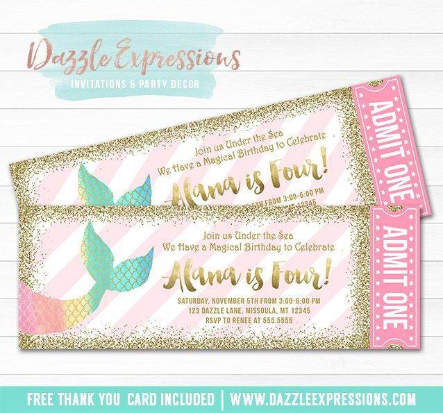 Printable Mermaid Tail Ticket Birthday Invitation | Mint, Turquoise, Pink, Purple Gold Glitter | Magical Rainbow | Under the Sea | Ocean | Girls 1st Birthday Party | DIY Print Your Own | Digital File | FREE thank you card included | Printable Matching Party Package Decorations Available! | Banner | Signs | Labels | Favor Tags | Water Bottle Labels and more! www.dazzleexpressions.com