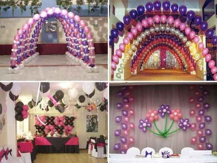 Adornos para fiestas de xv a os con globos 1 tile for Adornos navidenos para xv anos