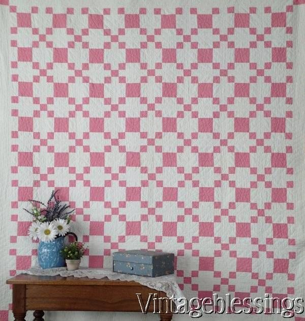 "Cottage Sweet Vintage 30s Pink & White QUILT Puss in the Corner 72x69"" www.Vintageblessings.com"