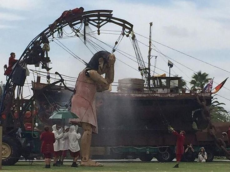The Little Girl Giant is awake and taking a shower. Picture: Perth Festival