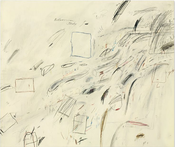 Cy Twombly, Untitled (1969), oil-based house paint, wax crayon and lead pencil on canvas. Photo courtesy Christie's.