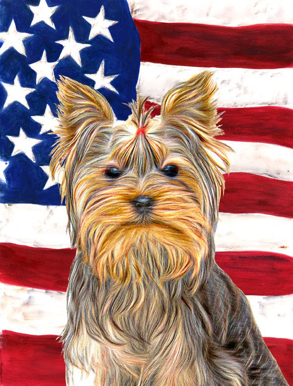 American Flag With Yorkie/Yorkshire Terrier 2 Sided Garden Flag