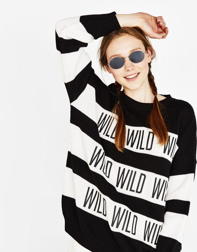 Striped print sweater - Bershka #fashion #product #sweater #knit #knitwear #stripes #black #wild #print #printed #cool #girl #girly #trend #trendy